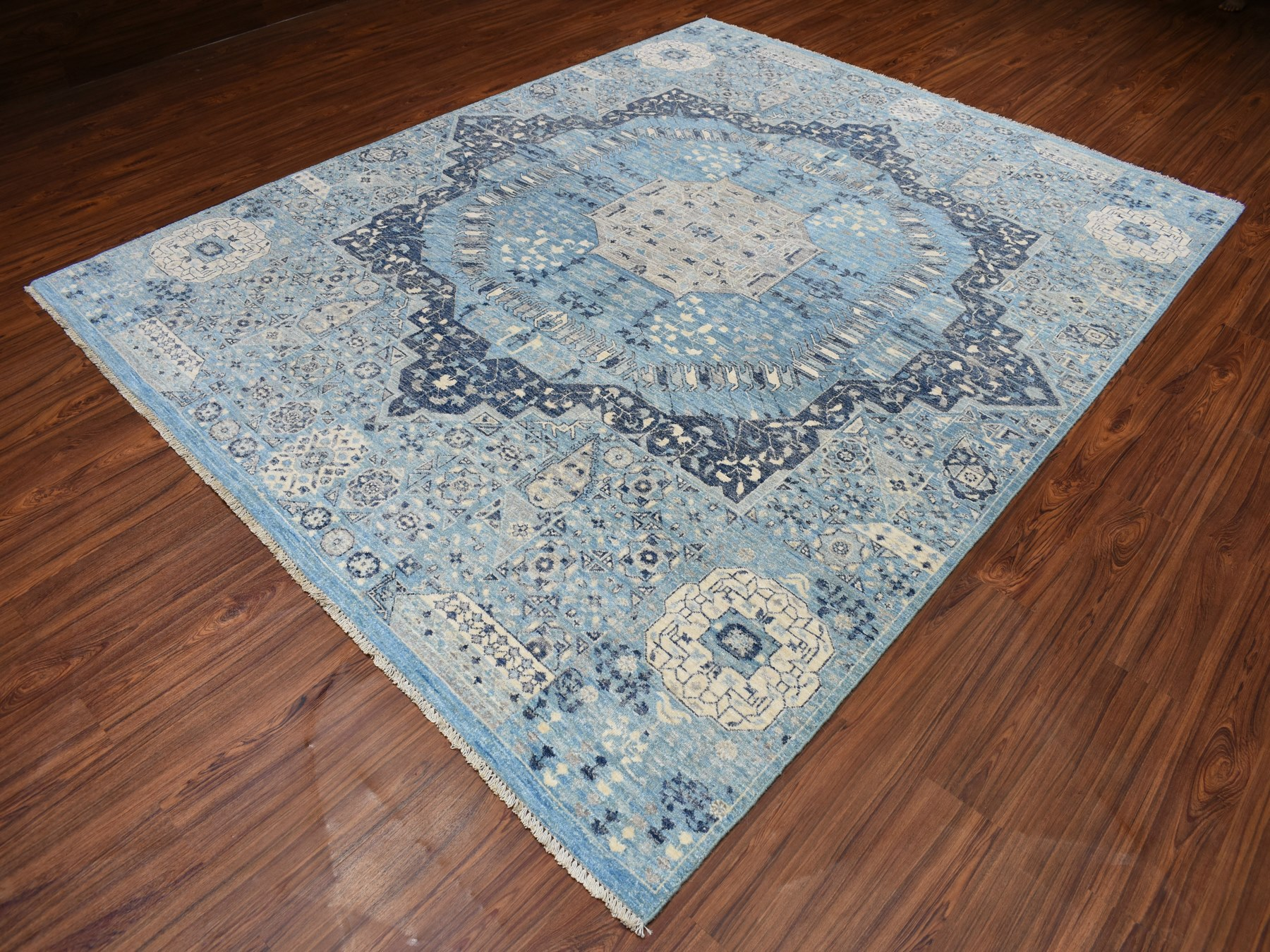 Traditional Wool Hand Knotted Blues Area Rug Mamluk 8'0