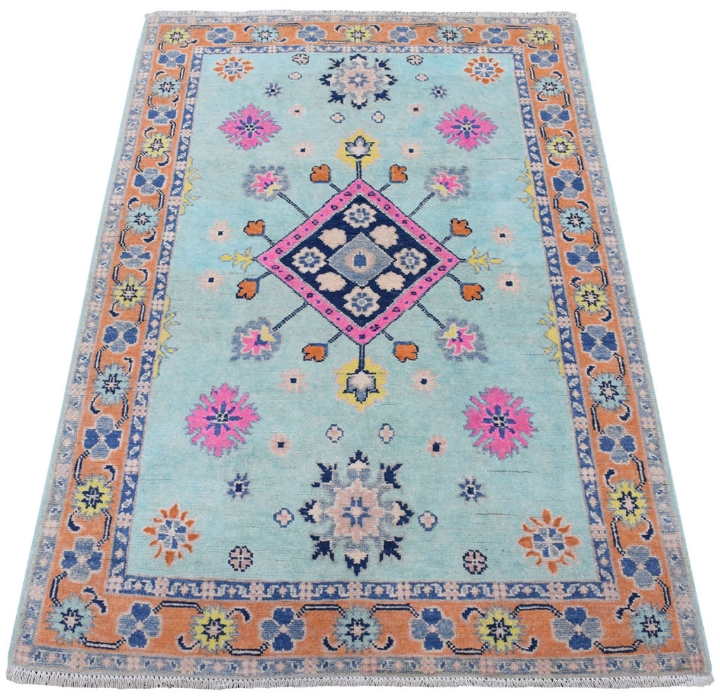 Traditional Wool Hand Knotted Greens Area Rug Kazak 3'3