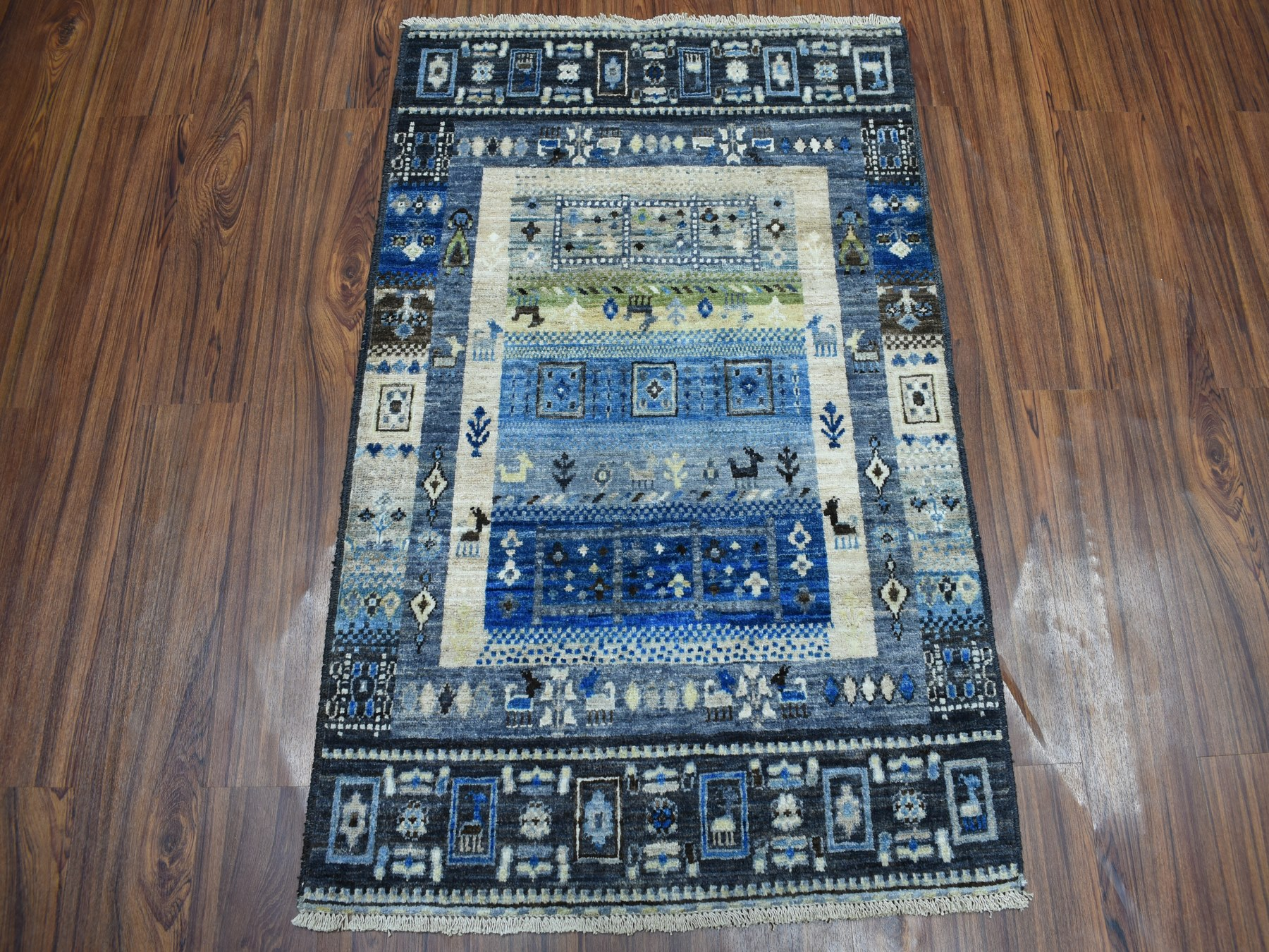 Traditional Wool Hand Knotted Blues Area Rug Gabbeh 2'8