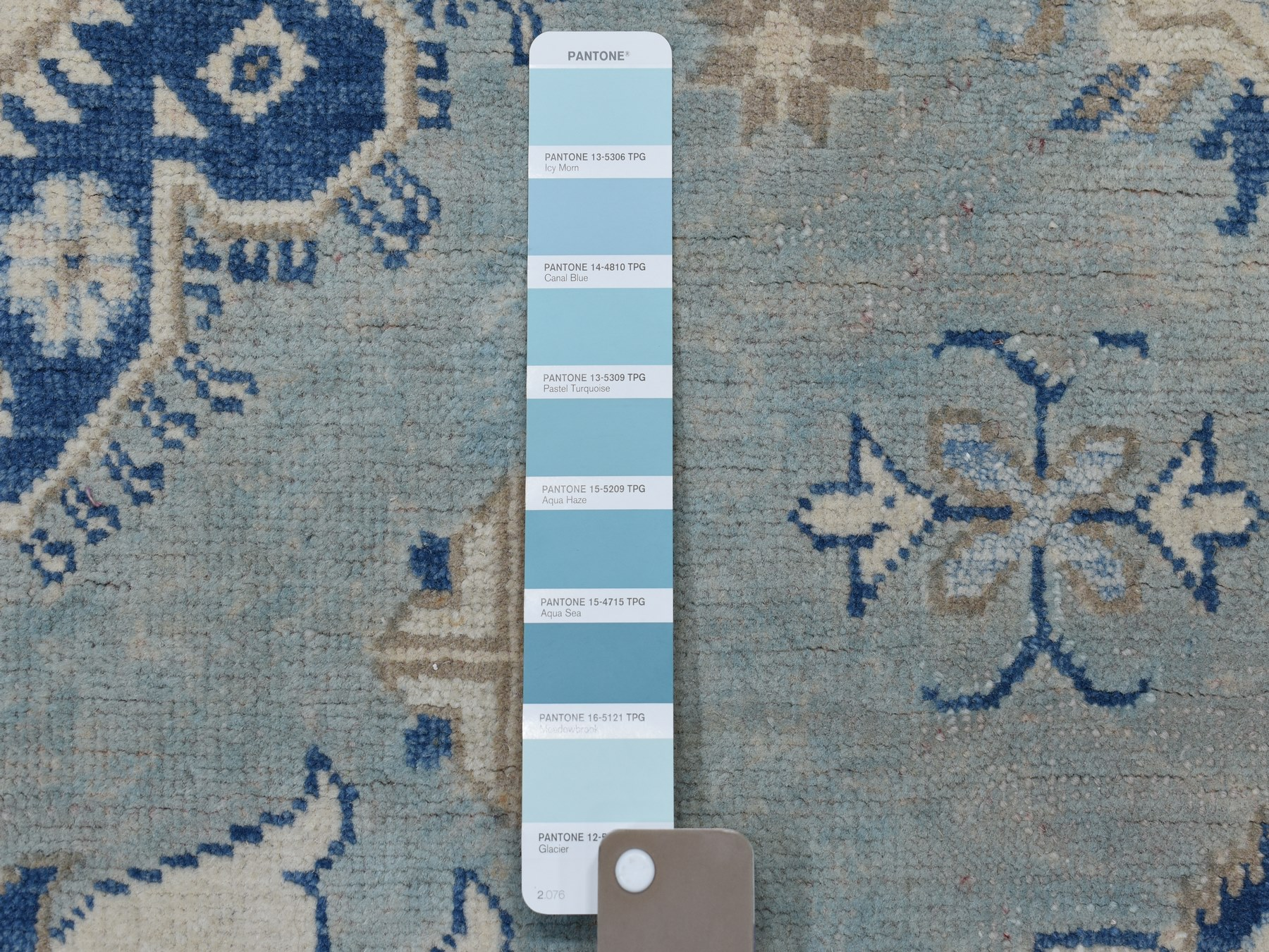 Traditional Wool Hand Knotted Blues Area Rug Kazak 5'10