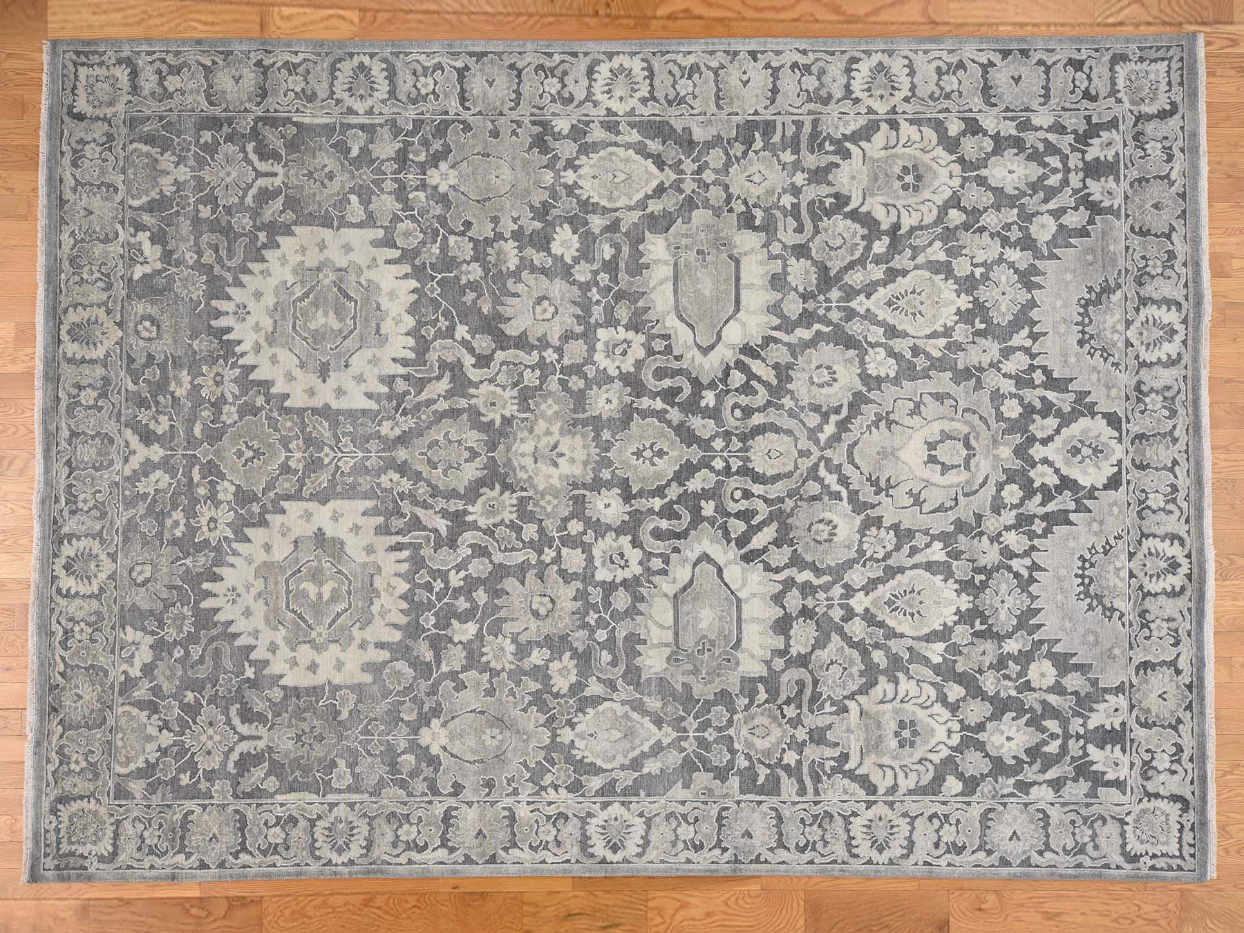 Transitional Silk Hand-Knotted Area Rug 9'0