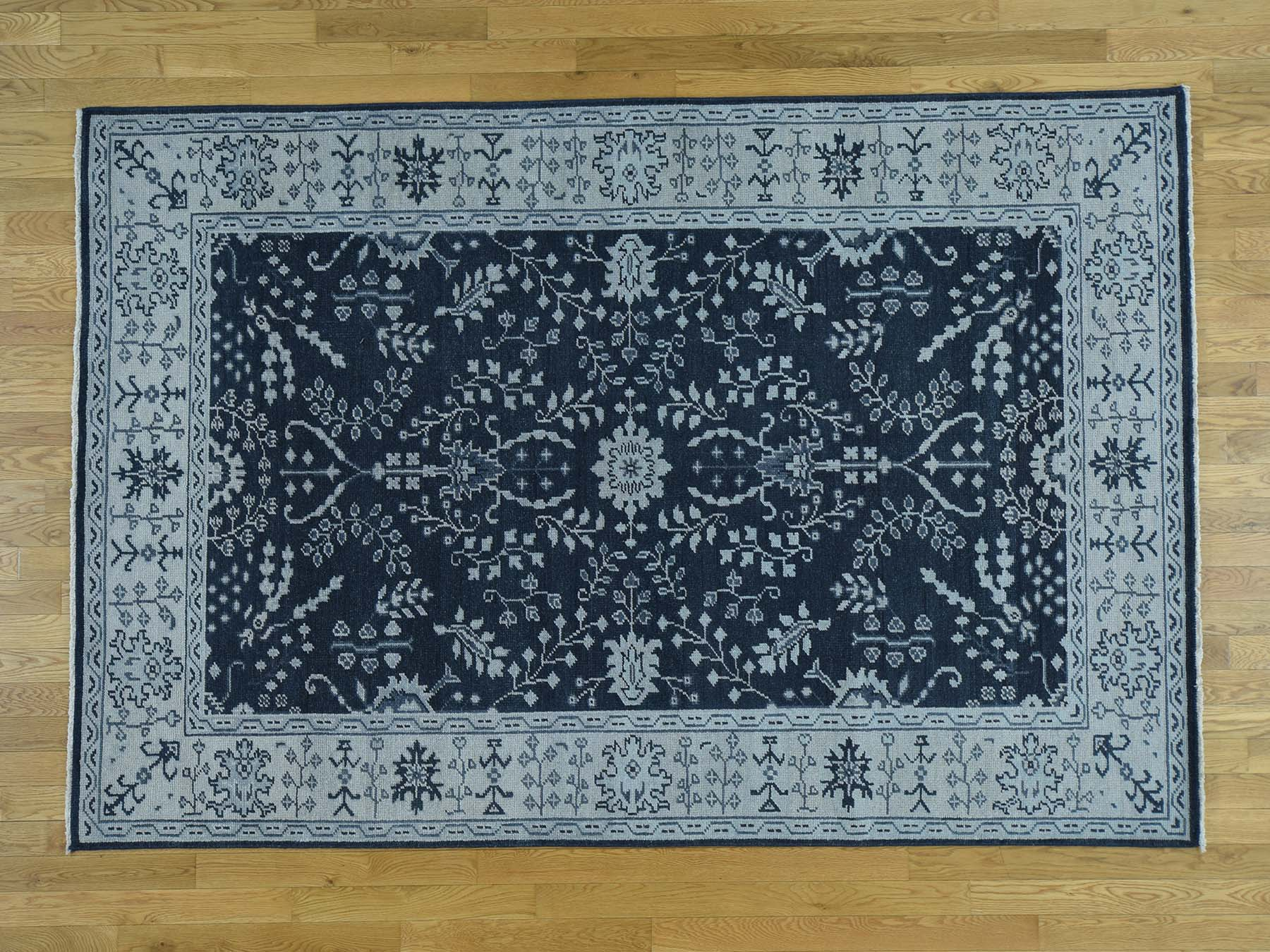 Transitional Wool Hand-Knotted Area Rug 6'1