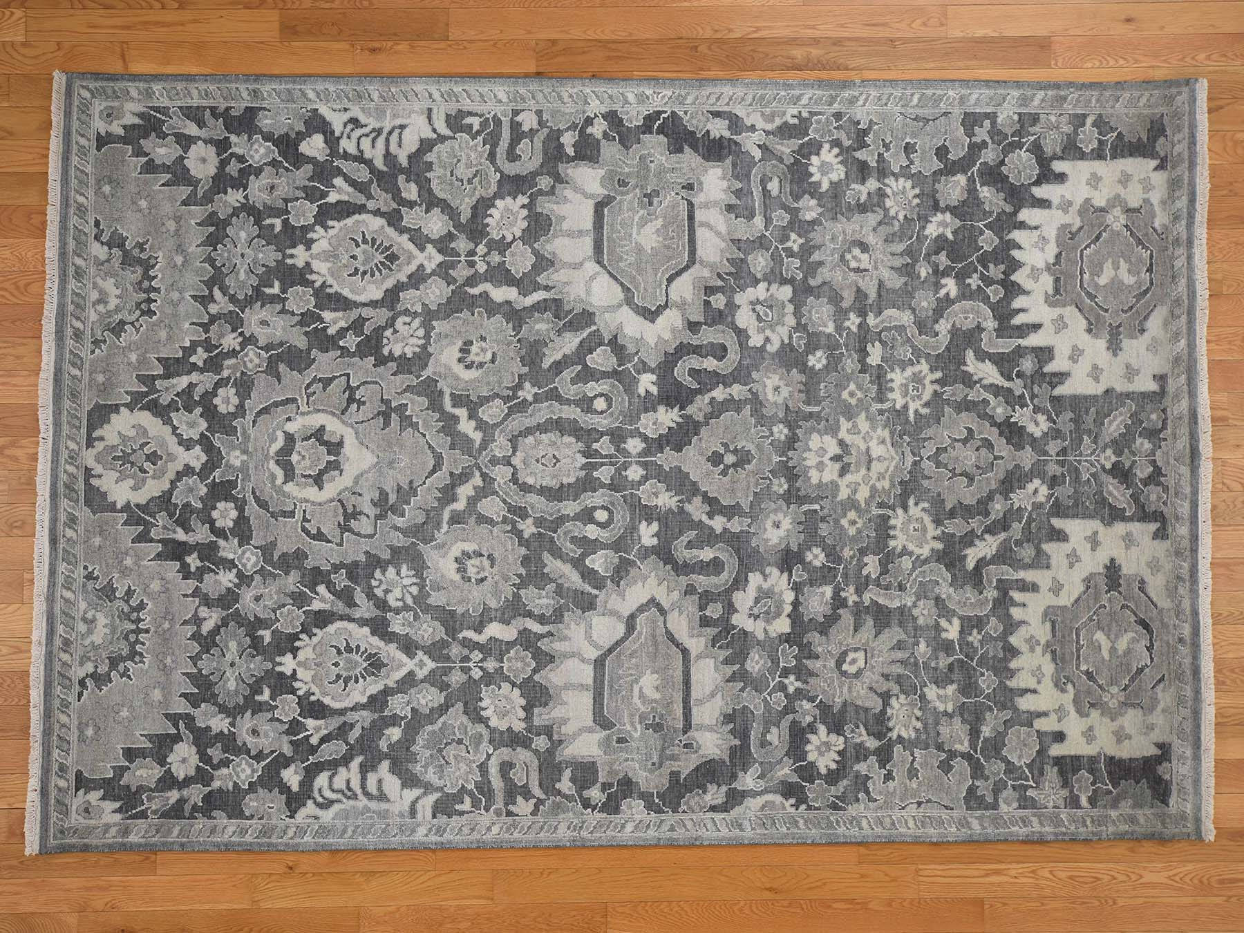 Transitional Silk Hand-Knotted Area Rug 6'3