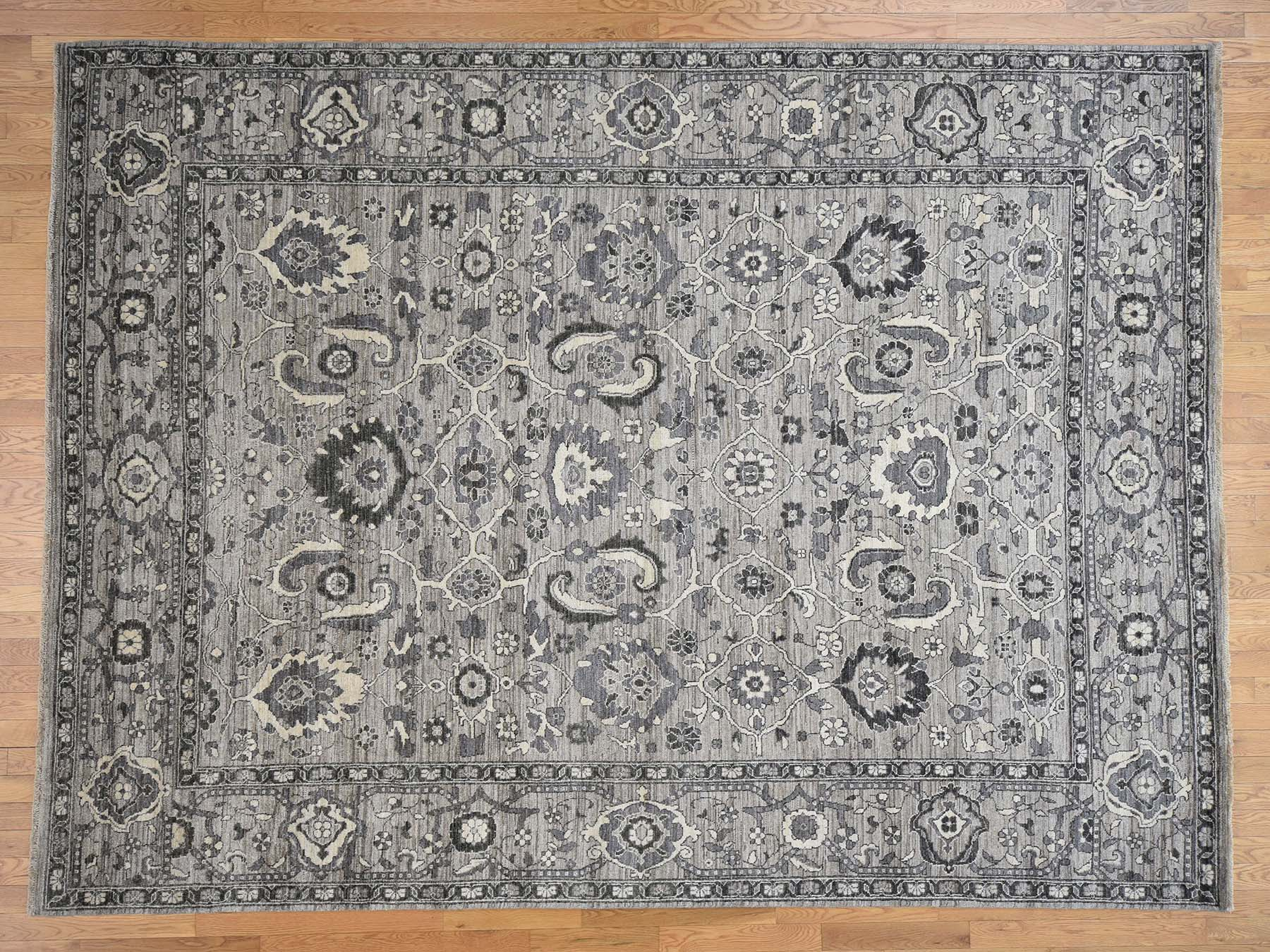 Transitional Wool Hand-Knotted Area Rug 9'1