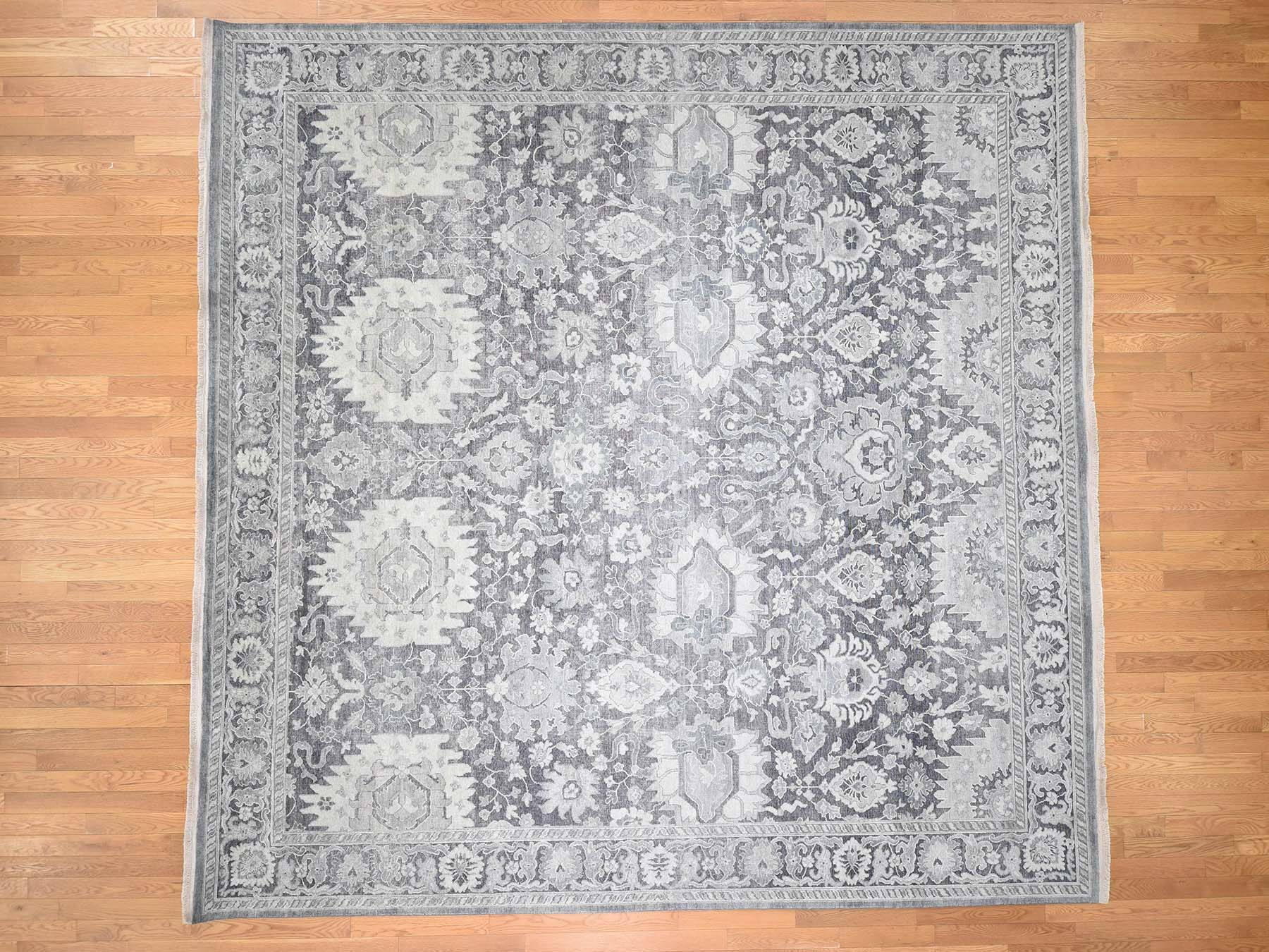 Transitional Silk Hand-Knotted Area Rug 11'10