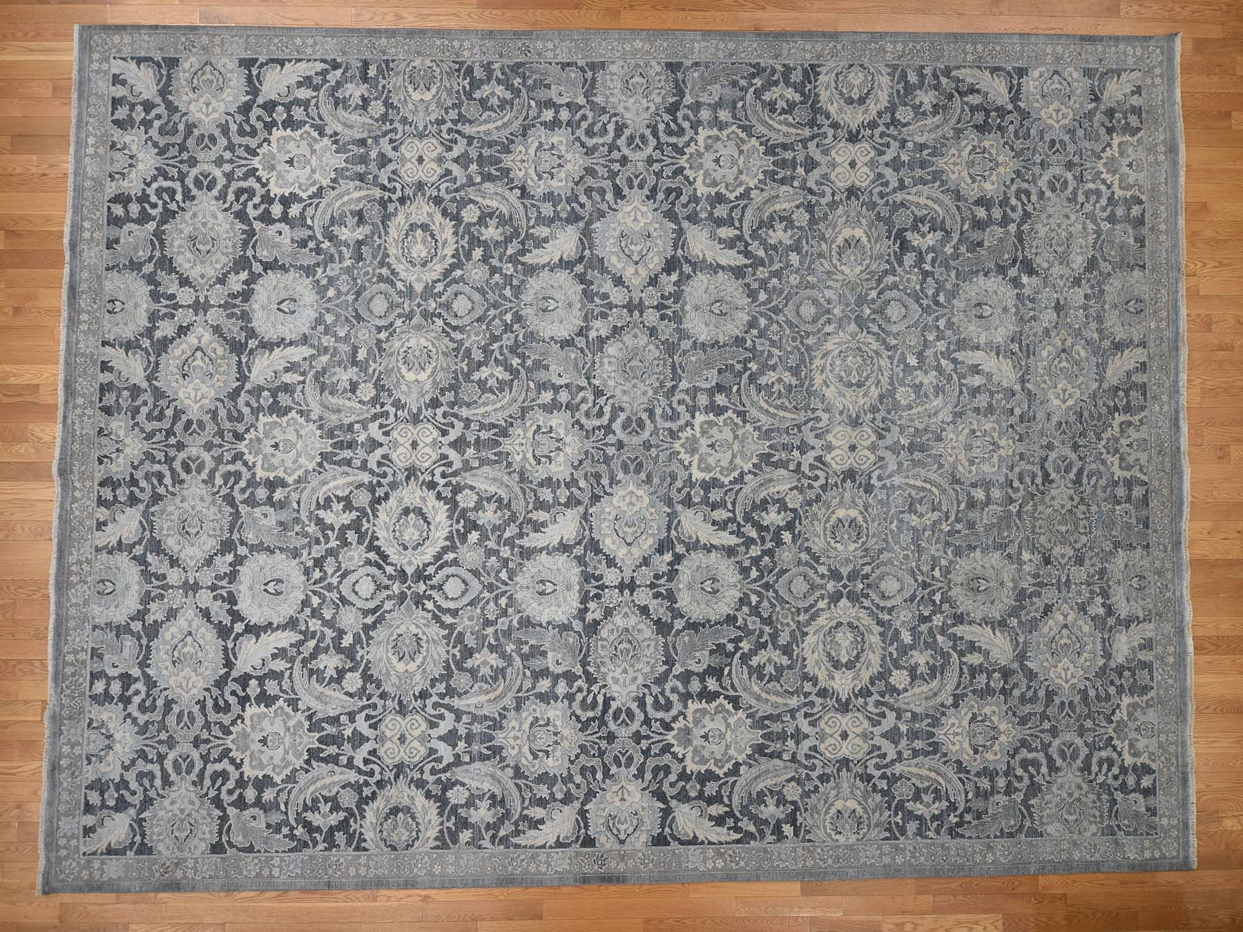 Transitional Silk Hand-Knotted Area Rug 12'0