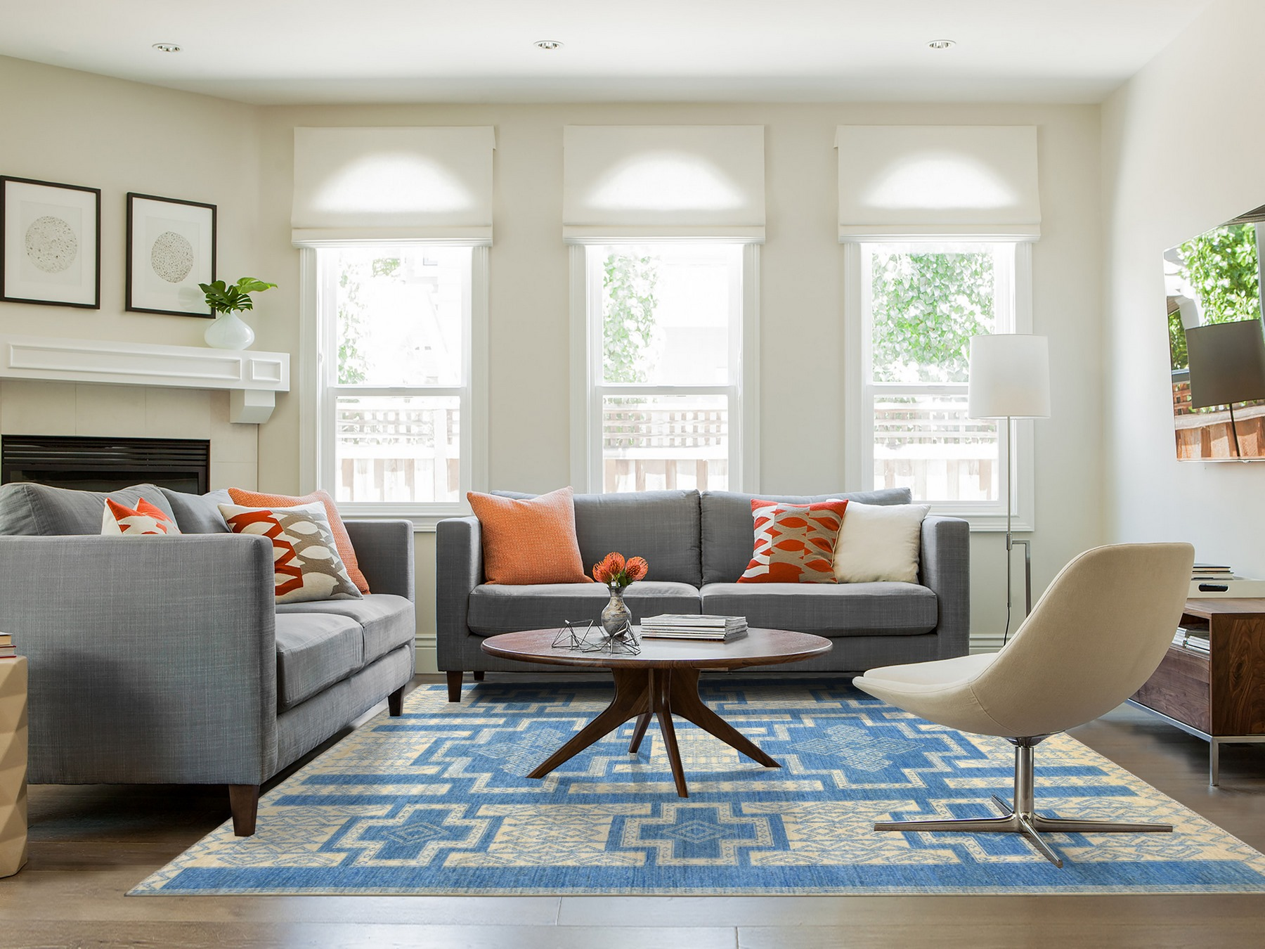 Transitional Wool Hand-Knotted Area Rug 8'0