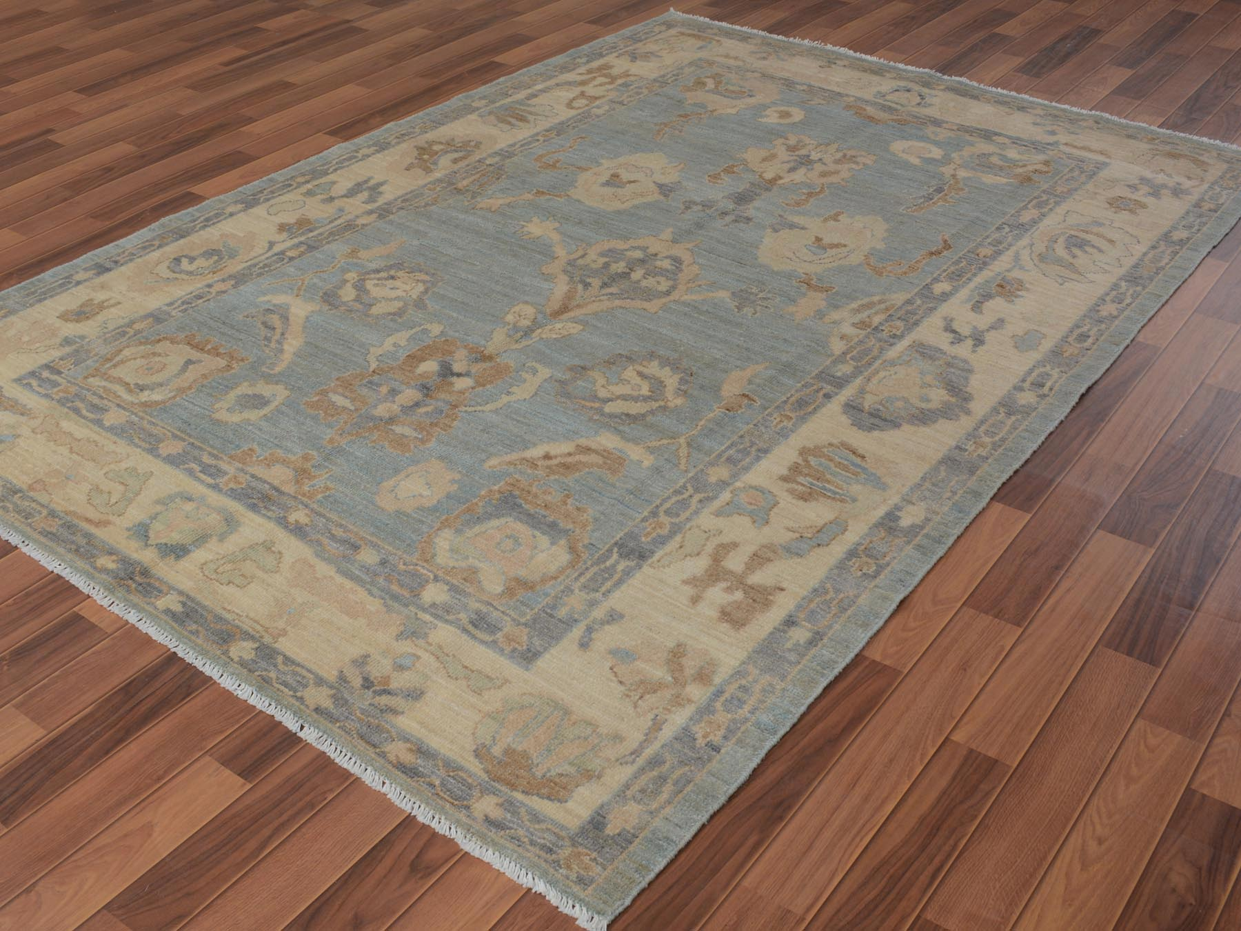 Transitional Wool Hand-Knotted Area Rug 6'2